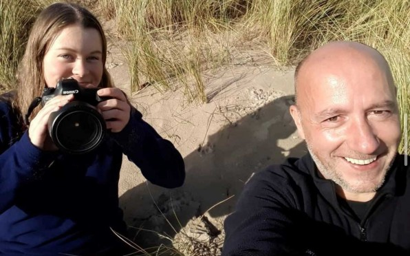 Ellie with Dynamic Dunescapes engagement officer Andy Nelson.